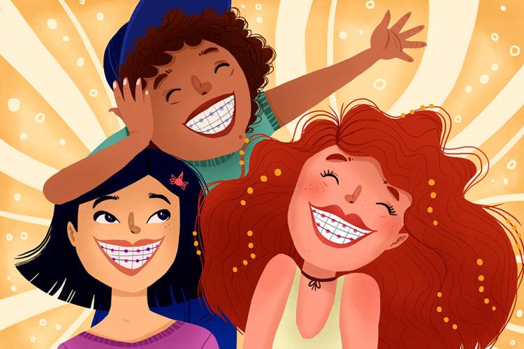Three smiling cartoon kids wearing braces
